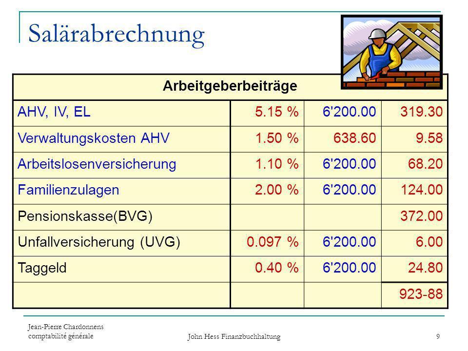 Jean-Pierre Chardonnens comptabilité générale John Hess Finanzbuchhaltung 9 Salärabrechnung Arbeitgeberbeiträge AHV, IV, EL5.15 %6'200.00319.30 Verwal