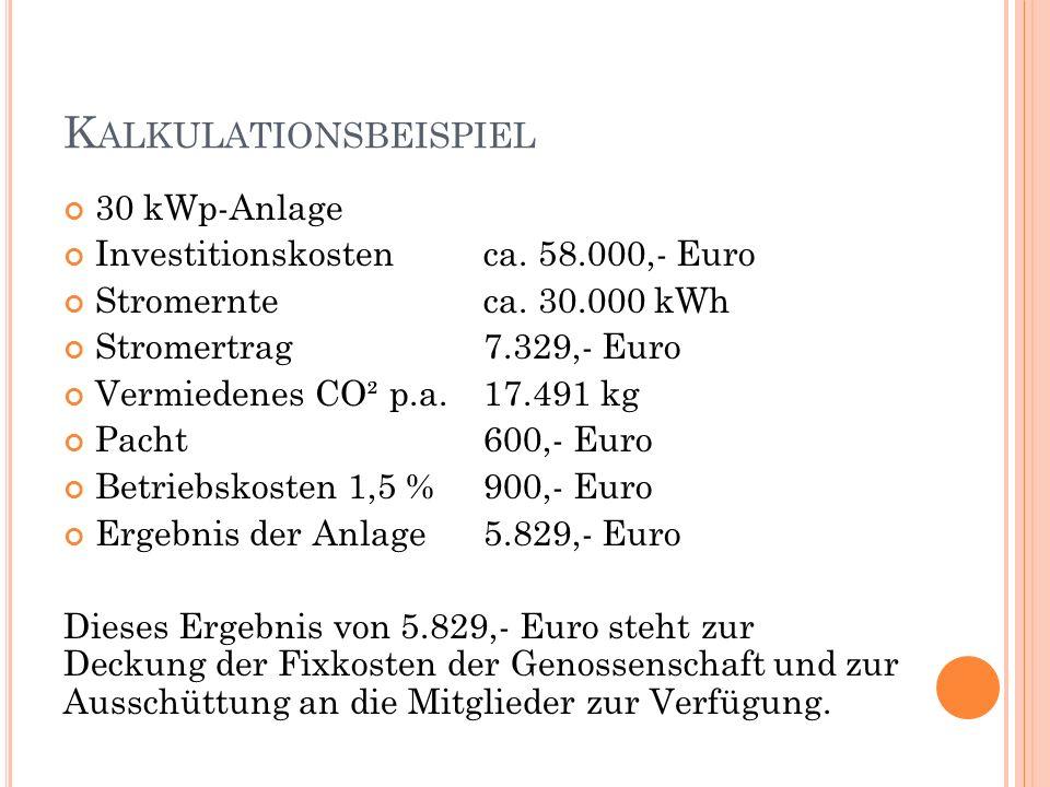 K ALKULATIONSBEISPIEL 30 kWp-Anlage Investitionskosten ca. 58.000,- Euro Stromernte ca. 30.000 kWh Stromertrag 7.329,- Euro Vermiedenes CO² p.a.17.491