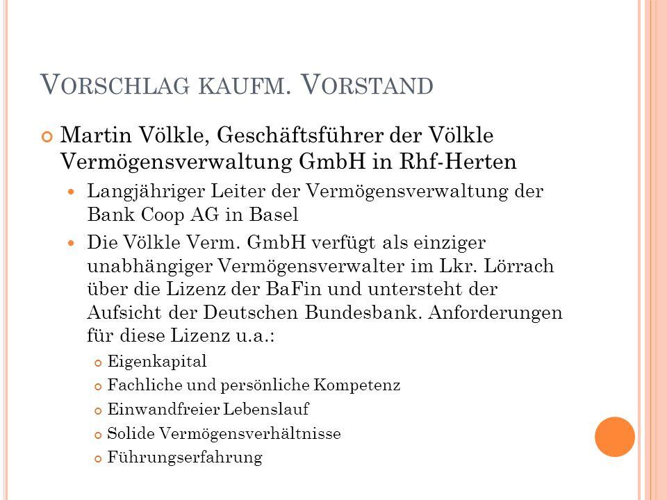 V ORSCHLAG KAUFM. V ORSTAND Martin Völkle, Geschäftsführer der Völkle Vermögensverwaltung GmbH in Rhf-Herten Langjähriger Leiter der Vermögensverwaltu