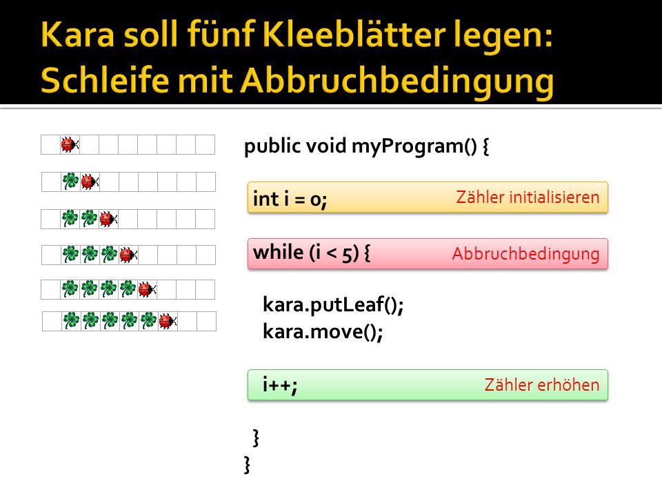 Zähler erhöhen Abbruchbedingung Zähler initialisieren public void myProgram() { int i = 0; while (i < 5) { kara.putLeaf(); kara.move(); i++; }