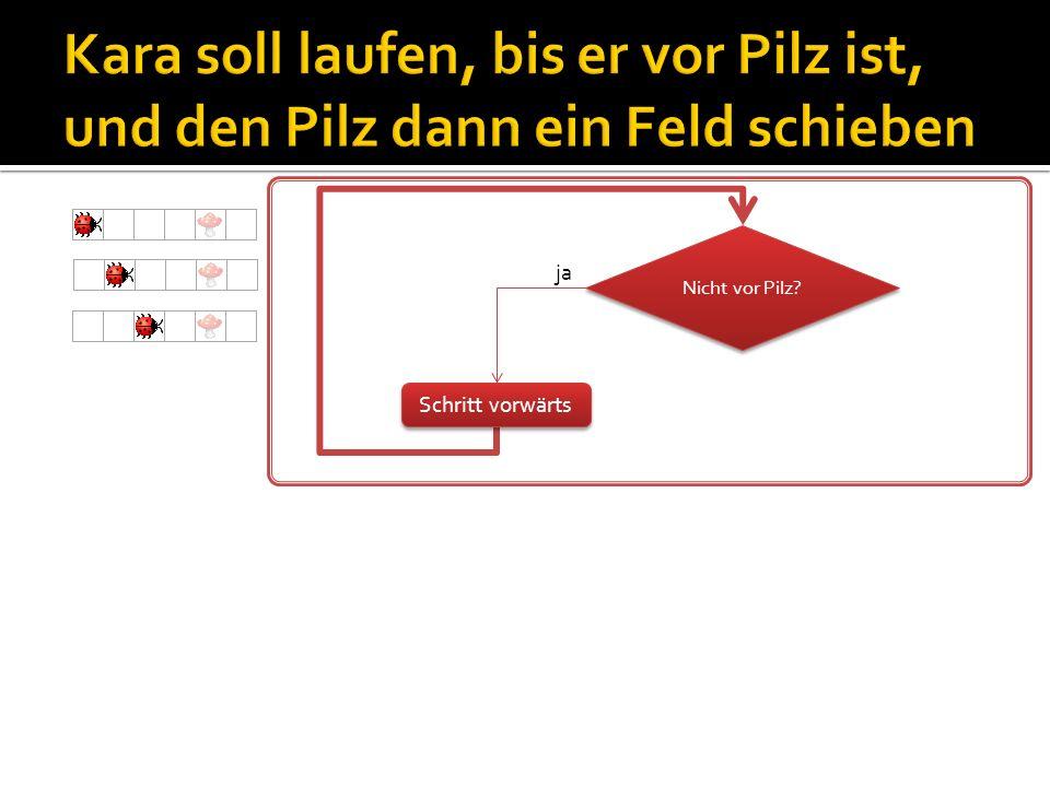 y x Objekt «world» bietet Methoden für direkte Manipulation der Welt (siehe auch Hilfe in JavaKara): world.setLeaf(x, y, true); // plaziert Kleeblatt an (x,y), // falls noch keines vorhanden world.setLeaf(x, y, false); // löscht Kleeblatt an (x,y), // falls eines vorhanden