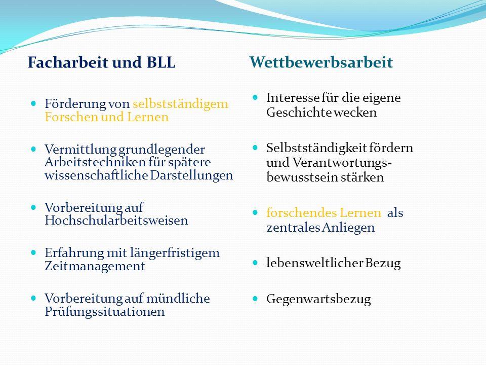Facharbeit und BLL Wettbewerbsarbeit Förderung von selbstständigem Forschen und Lernen Vermittlung grundlegender Arbeitstechniken für spätere wissensc