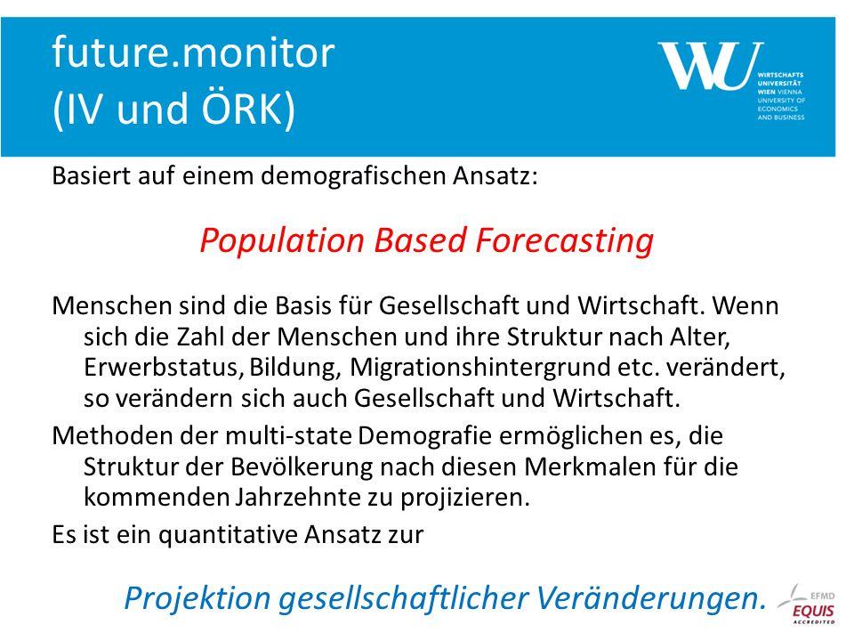 future.monitor (IV und ÖRK) Basiert auf einem demografischen Ansatz: Population Based Forecasting Menschen sind die Basis für Gesellschaft und Wirtsch
