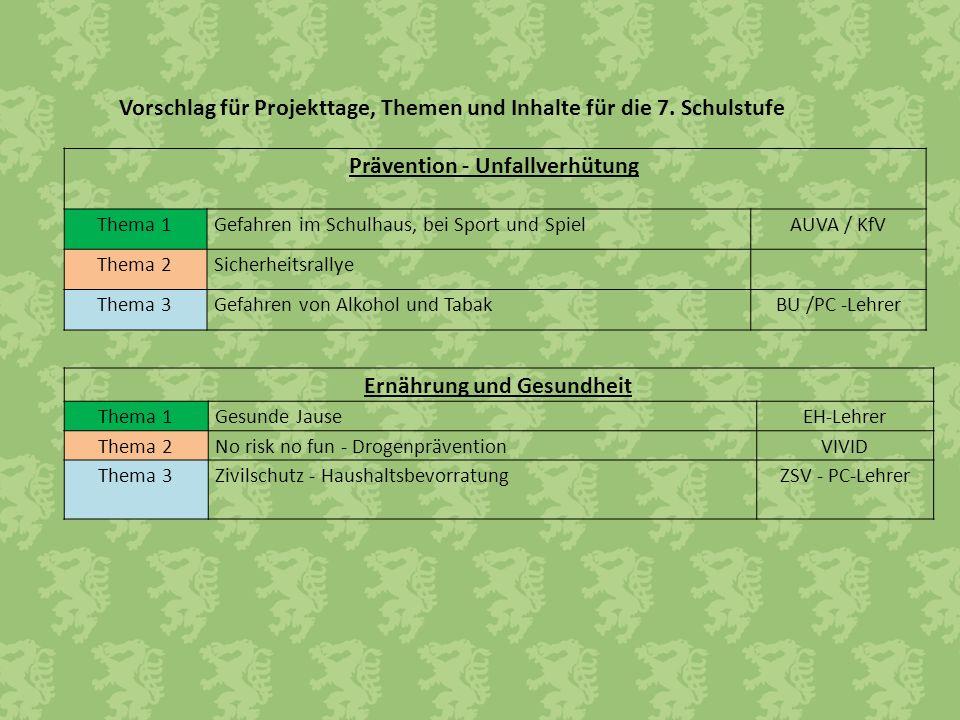 Vorschlag für Projekttage, Themen und Inhalte für die 7. Schulstufe Prävention - Unfallverhütung Thema 1Gefahren im Schulhaus, bei Sport und SpielAUVA