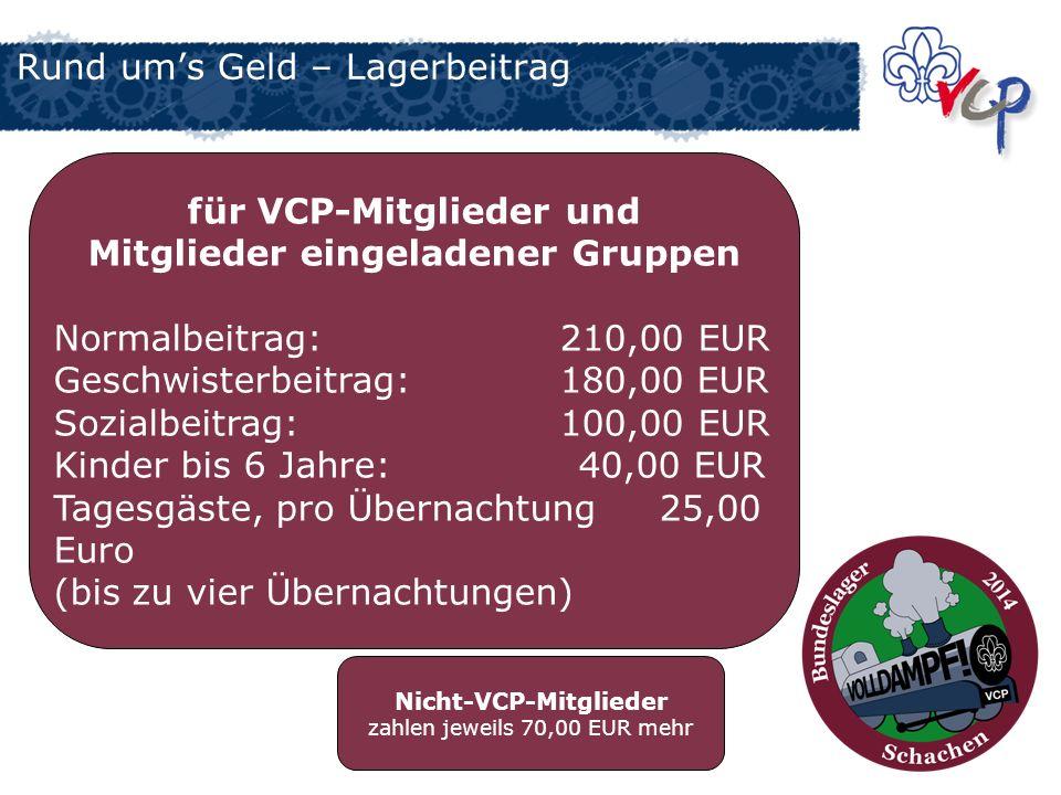 Rund ums Geld – Lagerbeitrag für VCP-Mitglieder und Mitglieder eingeladener Gruppen Normalbeitrag: 210,00 EUR Geschwisterbeitrag: 180,00 EUR Sozialbei
