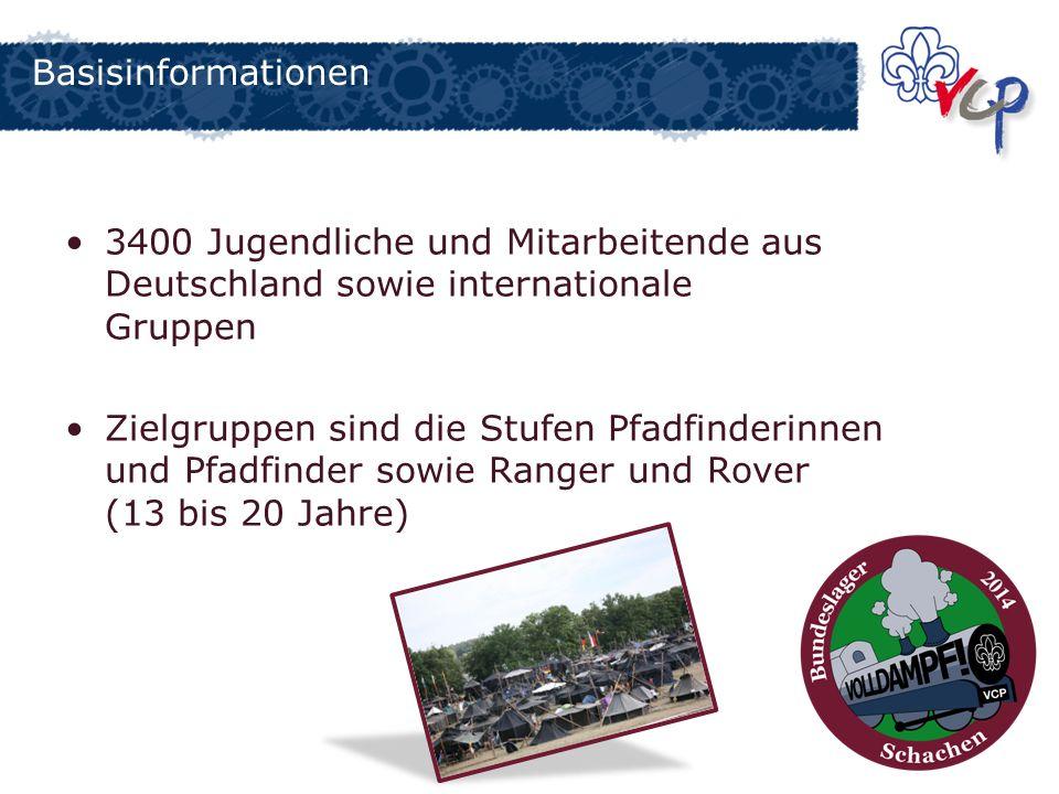 Basisinformationen 3400 Jugendliche und Mitarbeitende aus Deutschland sowie internationale Gruppen Zielgruppen sind die Stufen Pfadfinderinnen und Pfa