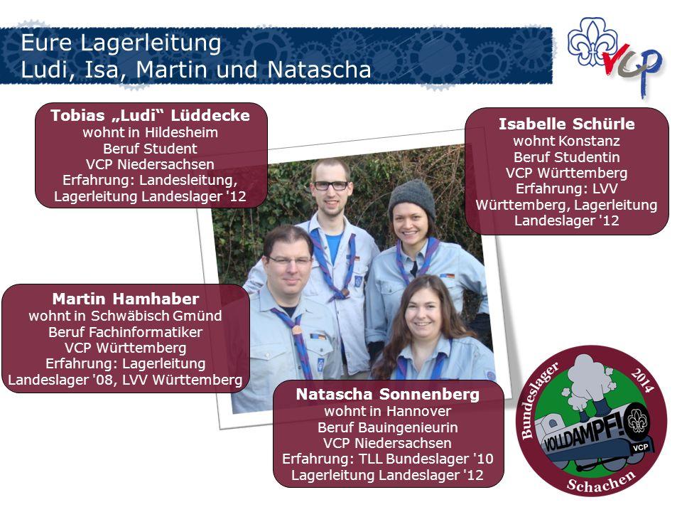 Eure Lagerleitung Ludi, Isa, Martin und Natascha Tobias Ludi Lüddecke wohnt in Hildesheim Beruf Student VCP Niedersachsen Erfahrung: Landesleitung, La