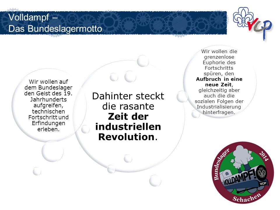 Volldampf – Das Bundeslagermotto Dahinter steckt die rasante Zeit der industriellen Revolution. Wir wollen auf dem Bundeslager den Geist des 19. Jahrh