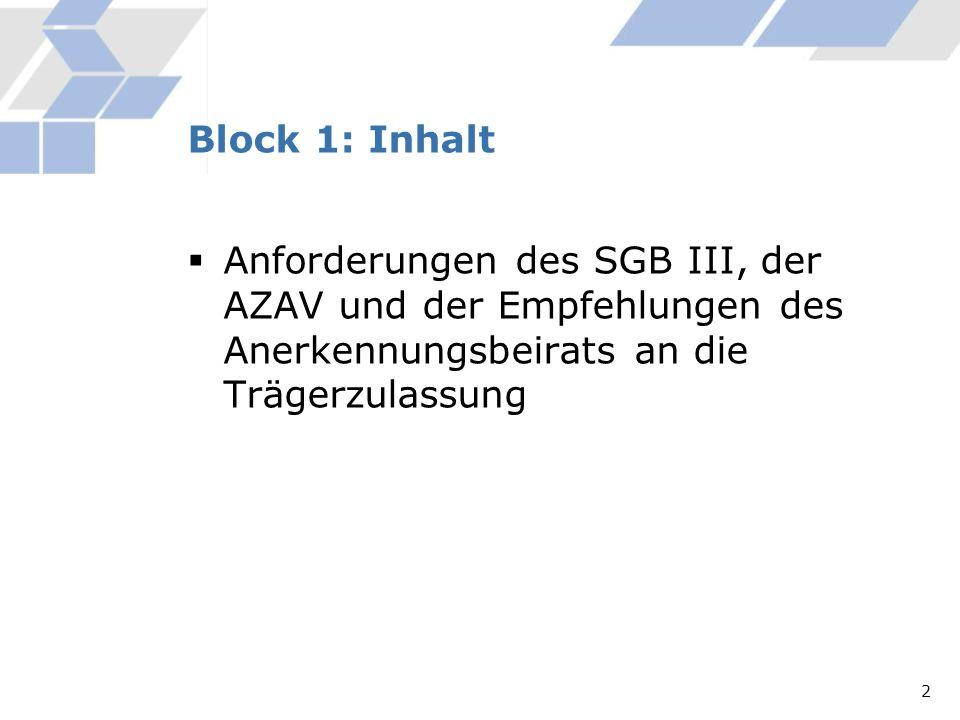 Anforderungen des SGB III, der AZAV und der Empfehlungen des Anerkennungsbeirats an die Trägerzulassung Block 1: Inhalt 2