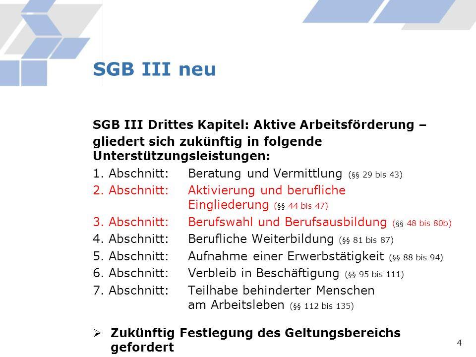 SGB III Drittes Kapitel: Aktive Arbeitsförderung – gliedert sich zukünftig in folgende Unterstützungsleistungen: 1. Abschnitt: Beratung und Vermittlun