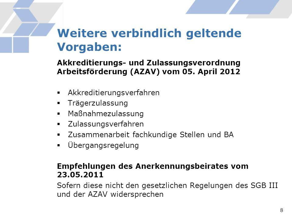 Weitere verbindlich geltende Vorgaben: Akkreditierungs- und Zulassungsverordnung Arbeitsförderung (AZAV) vom 05. April 2012 Akkreditierungsverfahren T