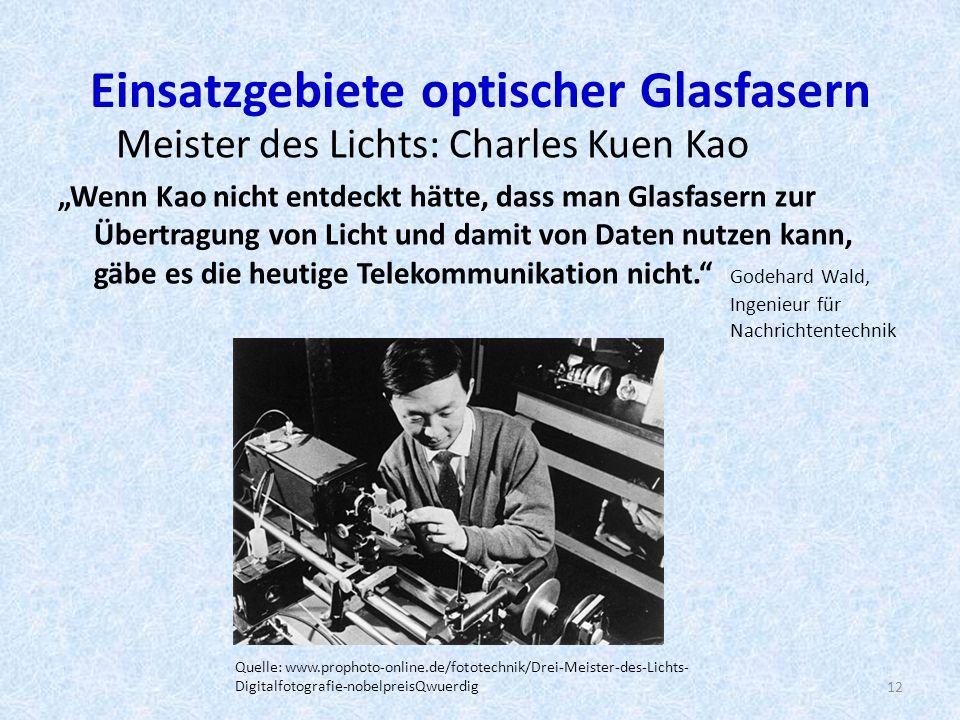 Einsatzgebiete optischer Glasfasern Meister des Lichts: Charles Kuen Kao Wenn Kao nicht entdeckt hätte, dass man Glasfasern zur Übertragung von Licht und damit von Daten nutzen kann, gäbe es die heutige Telekommunikation nicht.