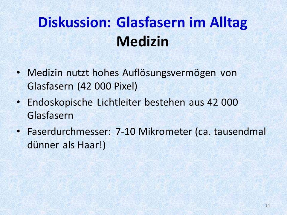 Diskussion: Glasfasern im Alltag Medizin Medizin nutzt hohes Auflösungsvermögen von Glasfasern (42 000 Pixel) Endoskopische Lichtleiter bestehen aus 42 000 Glasfasern Faserdurchmesser: 7-10 Mikrometer (ca.