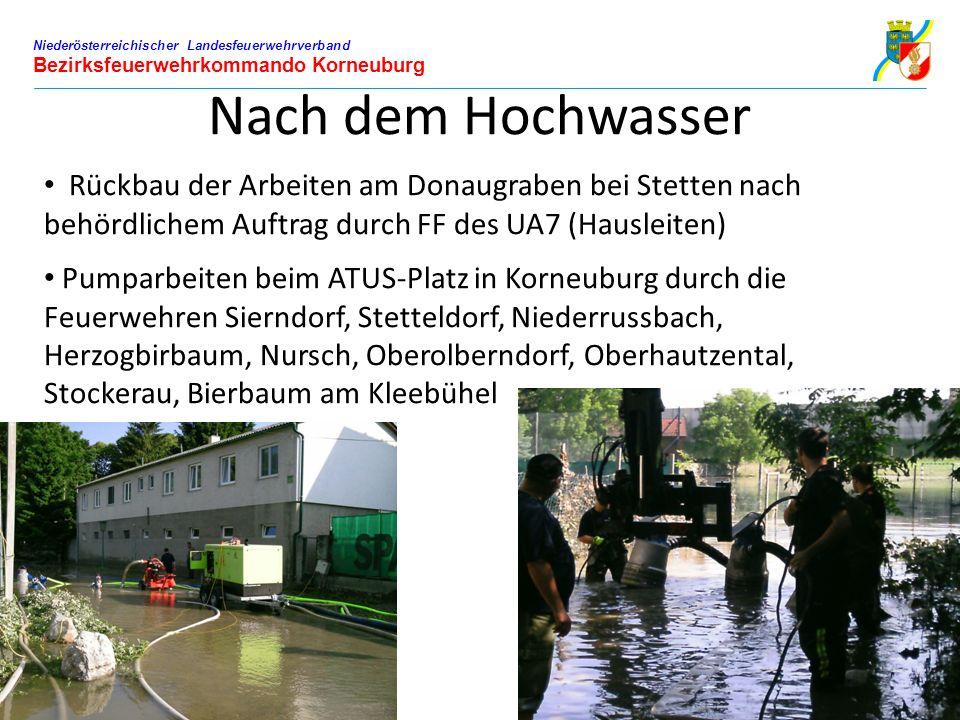 Niederösterreichischer Landesfeuerwehrverband Bezirksfeuerwehrkommando Korneuburg Nach dem Hochwasser Rückbau der Arbeiten am Donaugraben bei Stetten