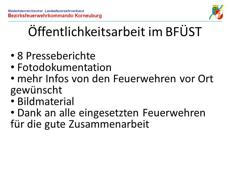 Niederösterreichischer Landesfeuerwehrverband Bezirksfeuerwehrkommando Korneuburg Öffentlichkeitsarbeit im BFÜST 8 Presseberichte Fotodokumentation me