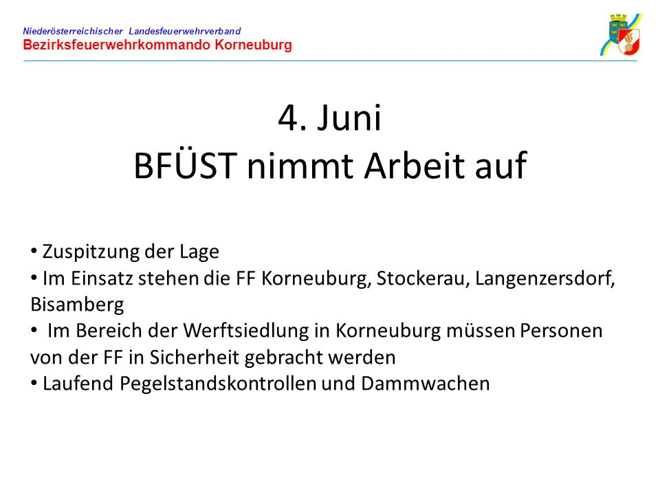 Niederösterreichischer Landesfeuerwehrverband Bezirksfeuerwehrkommando Korneuburg 4. Juni BFÜST nimmt Arbeit auf Zuspitzung der Lage Im Einsatz stehen