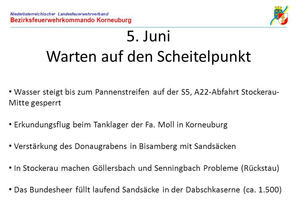 Niederösterreichischer Landesfeuerwehrverband Bezirksfeuerwehrkommando Korneuburg 5. Juni Warten auf den Scheitelpunkt Wasser steigt bis zum Pannenstr