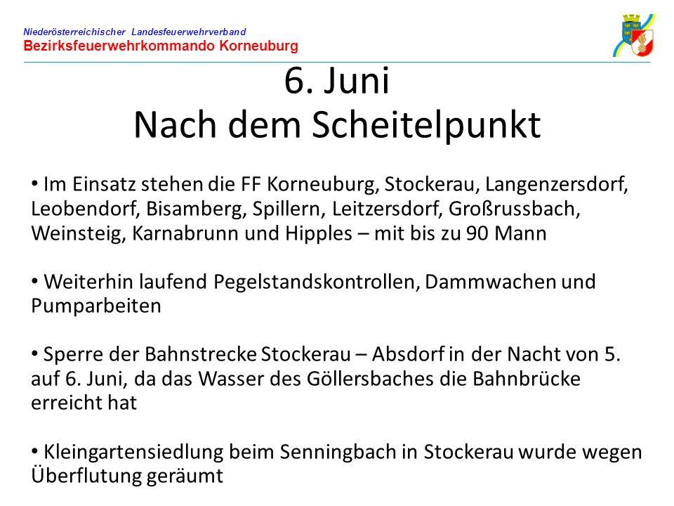 Niederösterreichischer Landesfeuerwehrverband Bezirksfeuerwehrkommando Korneuburg 6. Juni Nach dem Scheitelpunkt Im Einsatz stehen die FF Korneuburg,