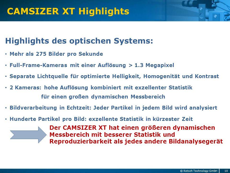 CAMSIZER XT Highlights 10 © Retsch Technology GmbH Highlights des optischen Systems: Mehr als 275 Bilder pro Sekunde Full-Frame-Kameras mit einer Aufl