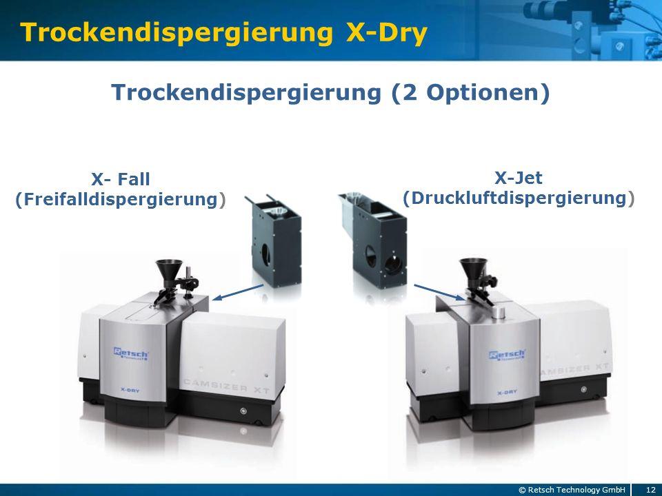 Trockendispergierung X-Dry 12 © Retsch Technology GmbH Trockendispergierung (2 Optionen) X- Fall (Freifalldispergierung) X-Jet (Druckluftdispergierung