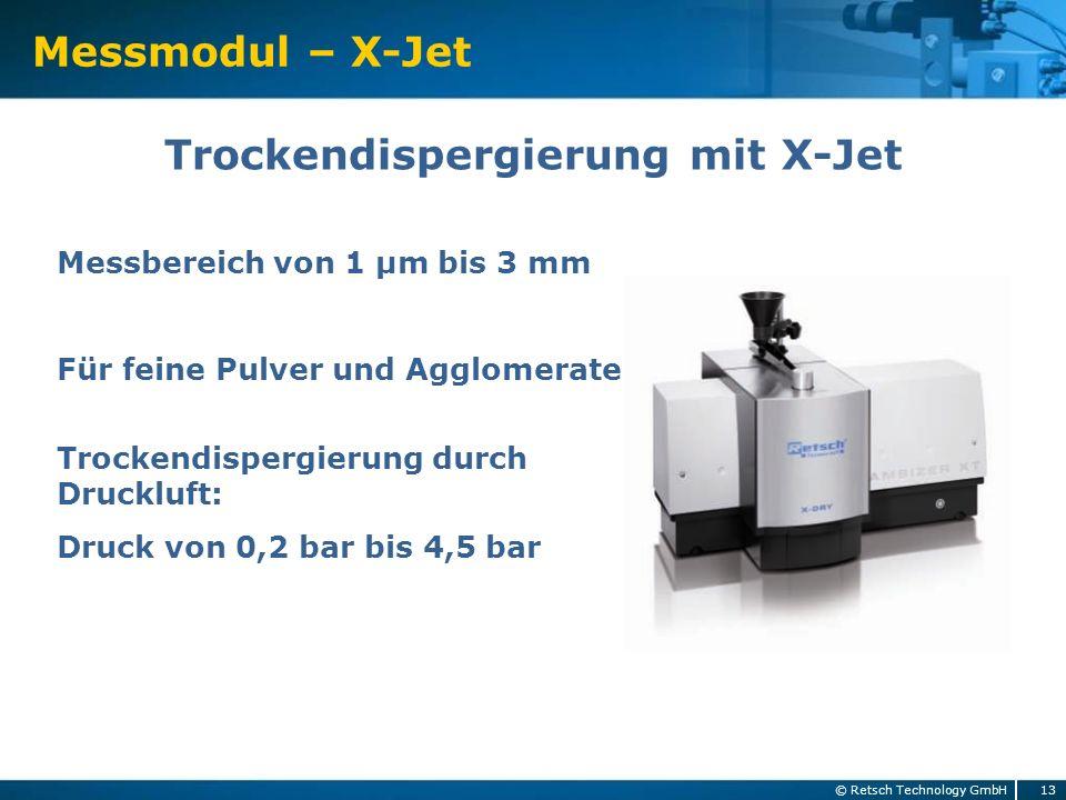 Messmodul – X-Jet 13 © Retsch Technology GmbH Trockendispergierung mit X-Jet Messbereich von 1 µm bis 3 mm Für feine Pulver und Agglomerate Trockendis