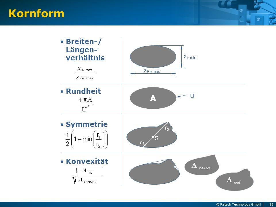Breiten-/ Längen- verhältnis Rundheit Symmetrie Konvexität x Fe max x c min A U r1r1 r2r2 S A konvex A real Kornform 18© Retsch Technology GmbH