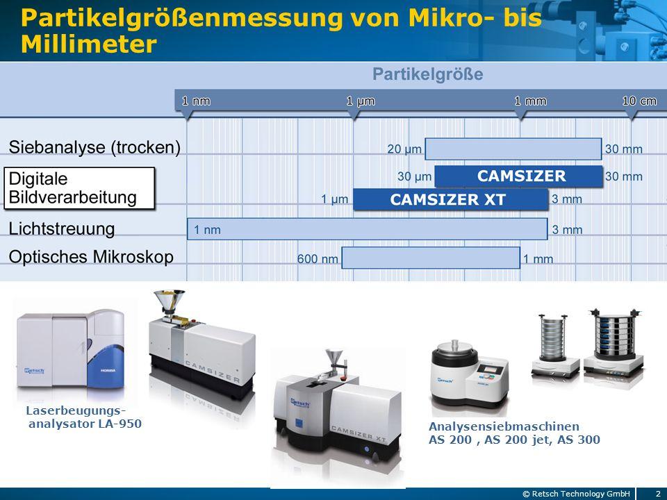 Messprinzip Bildanalyse 3© Retsch Technology GmbH Vergleich Statische Dynamische Bildanalyse ISO 13322-1 ISO 13322-2 - Hohe Auflösung - 2 Dimensionen - Einige hundert Partikel - Mittlere Auflösung - 3 Dimensionen - Mio.