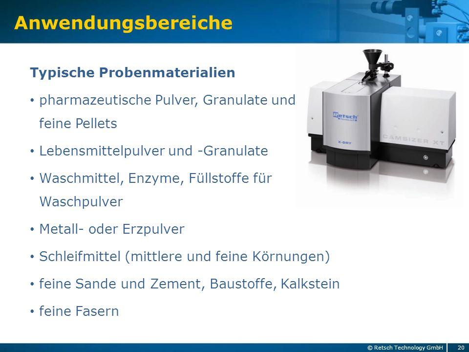 Typische Probenmaterialien pharmazeutische Pulver, Granulate und feine Pellets Lebensmittelpulver und -Granulate Waschmittel, Enzyme, Füllstoffe für W