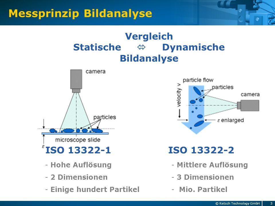 Messprinzip Bildanalyse 3© Retsch Technology GmbH Vergleich Statische Dynamische Bildanalyse ISO 13322-1 ISO 13322-2 - Hohe Auflösung - 2 Dimensionen