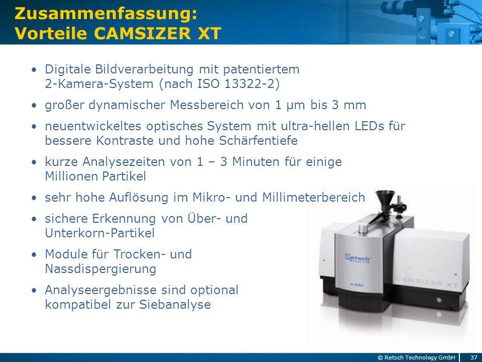 Digitale Bildverarbeitung mit patentiertem 2-Kamera-System (nach ISO 13322-2) großer dynamischer Messbereich von 1 µm bis 3 mm neuentwickeltes optisch