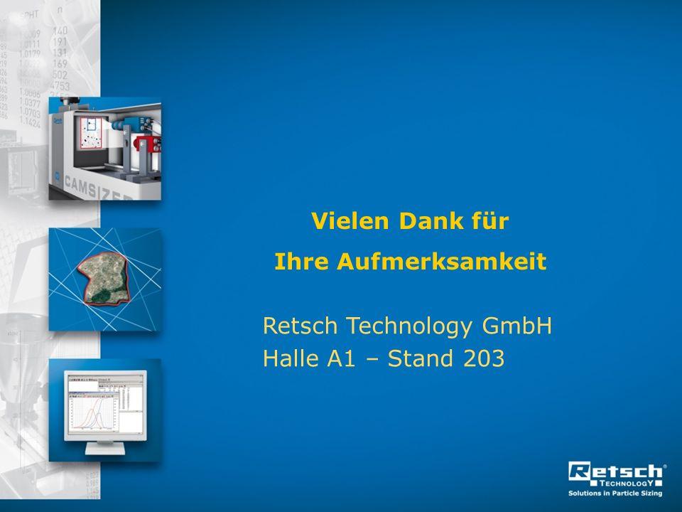 Vielen Dank für Ihre Aufmerksamkeit Retsch Technology GmbH Halle A1 – Stand 203