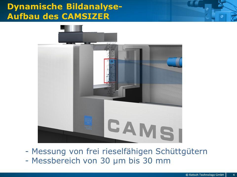 Dynamische Bildanalyse- Aufbau des CAMSIZER 4© Retsch Technology GmbH - Messung von frei rieselfähigen Schüttgütern - Messbereich von 30 µm bis 30 mm
