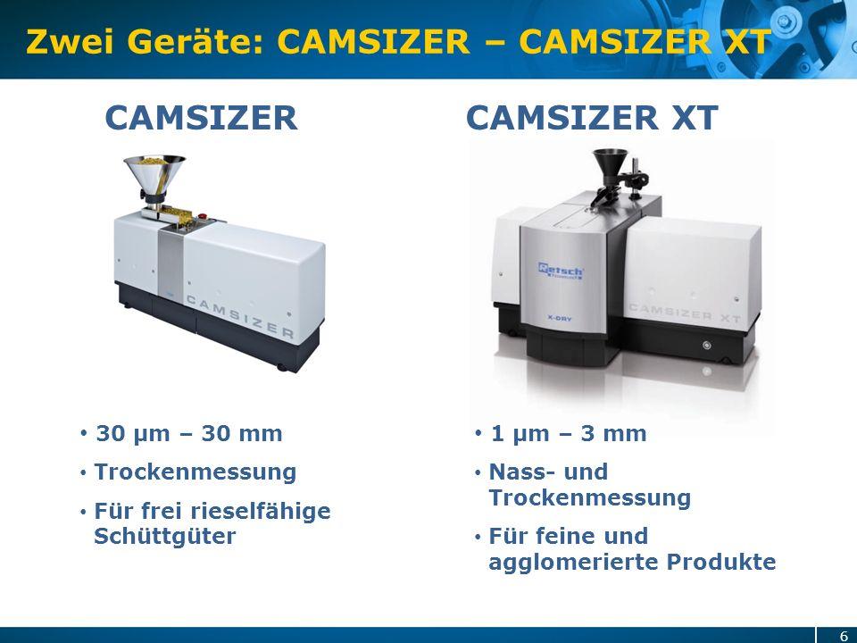 Zwei Geräte: CAMSIZER – CAMSIZER XT CAMSIZER 1 µm – 3 mm Nass- und Trockenmessung Für feine und agglomerierte Produkte CAMSIZER XT 30 µm – 30 mm Trock