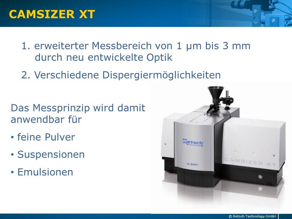 Messprinzip CAMSIZER XT 8© Retsch Technology GmbH Neue Optik mit höherer Auflösung für das Zwei-Kamera-Prinzip Basic Camera Zoom Camera Probenstrom Lichtquelle 1 Lichtquelle 2 Objektiv 2 Objektiv 1 Linsen