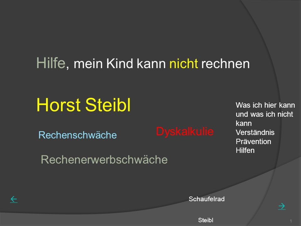 Steibl 1 Hilfe, mein Kind kann nicht rechnen Horst Steibl Rechenschwäche Rechenerwerbschwäche Dyskalkulie Schaufelrad Was ich hier kann und was ich ni
