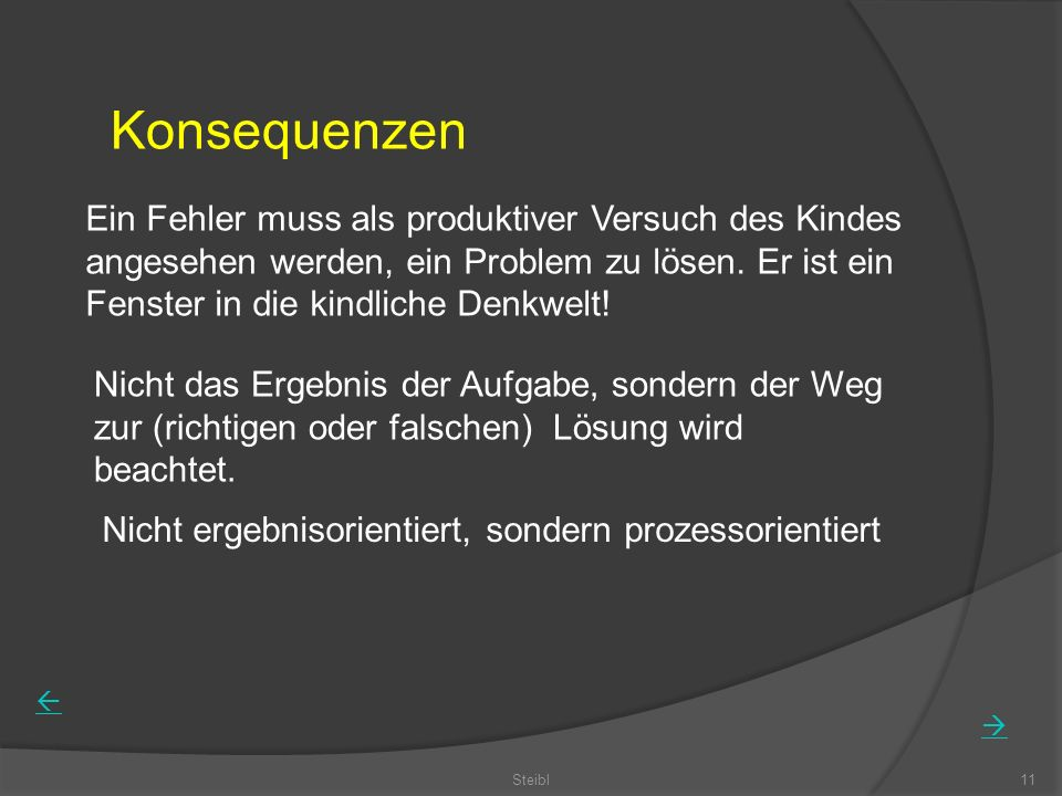 Steibl11 Konsequenzen Ein Fehler muss als produktiver Versuch des Kindes angesehen werden, ein Problem zu lösen. Er ist ein Fenster in die kindliche D