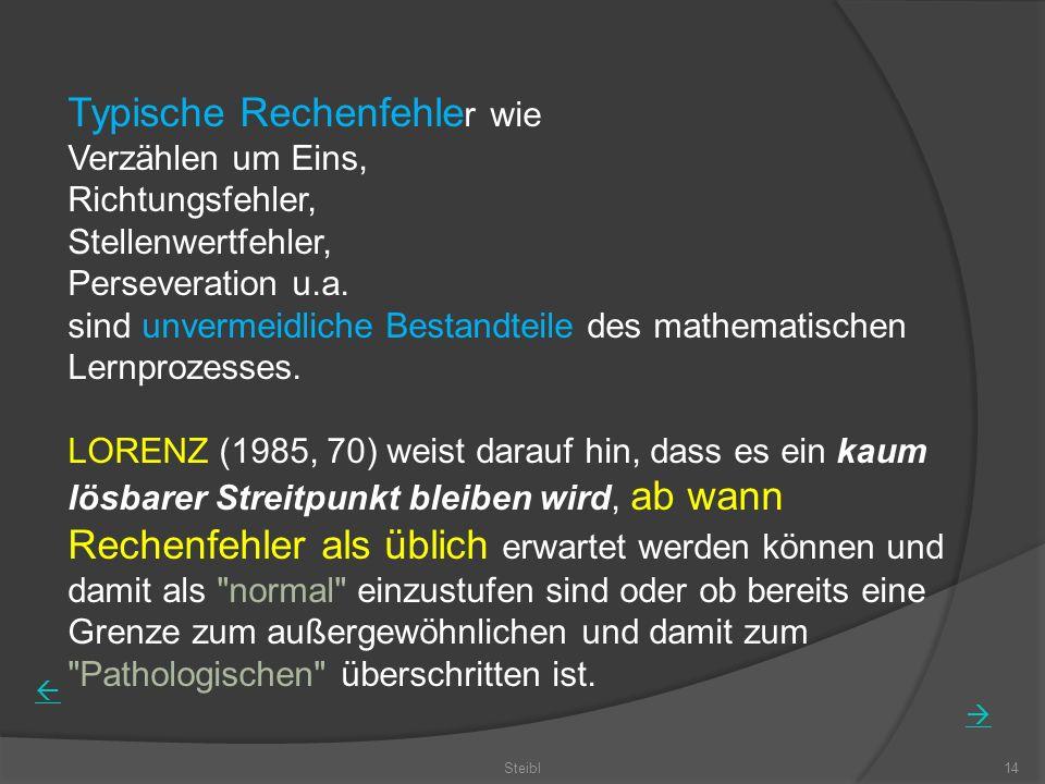 Steibl14 Typische Rechenfehle r wie Verzählen um Eins, Richtungsfehler, Stellenwertfehler, Perseveration u.a.