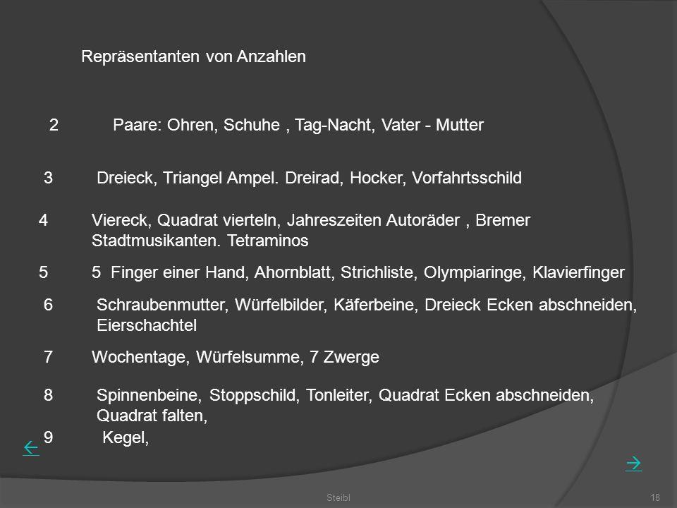 Steibl18 Repräsentanten von Anzahlen 2 3 4 5 6 Paare: Ohren, Schuhe, Tag-Nacht, Vater - Mutter Dreieck, Triangel Ampel. Dreirad, Hocker, Vorfahrtsschi