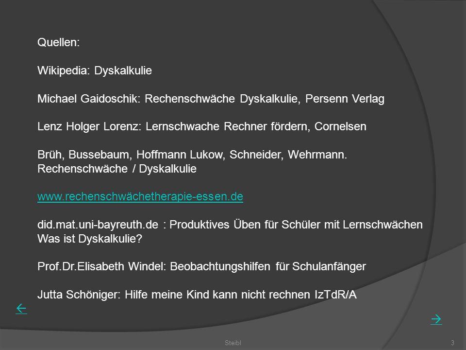 Steibl3 Quellen: Wikipedia: Dyskalkulie Michael Gaidoschik: Rechenschwäche Dyskalkulie, Persenn Verlag Lenz Holger Lorenz: Lernschwache Rechner förder