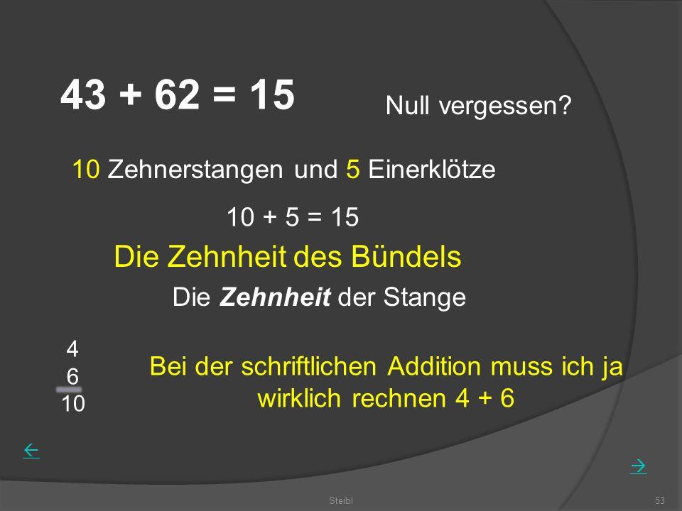 Steibl53 43 + 62 = 15 Null vergessen? 10 Zehnerstangen und 5 Einerklötze 10 + 5 = 15 Die Zehnheit der Stange Bei der schriftlichen Addition muss ich j