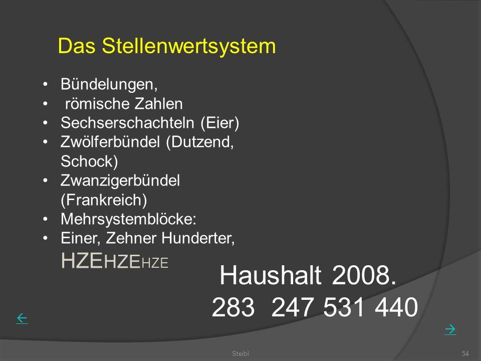 Steibl54 Das Stellenwertsystem Bündelungen, römische Zahlen Sechserschachteln (Eier) Zwölferbündel (Dutzend, Schock) Zwanzigerbündel (Frankreich) Mehrsystemblöcke: Einer, Zehner Hunderter, HZE HZE HZE Haushalt 2008.