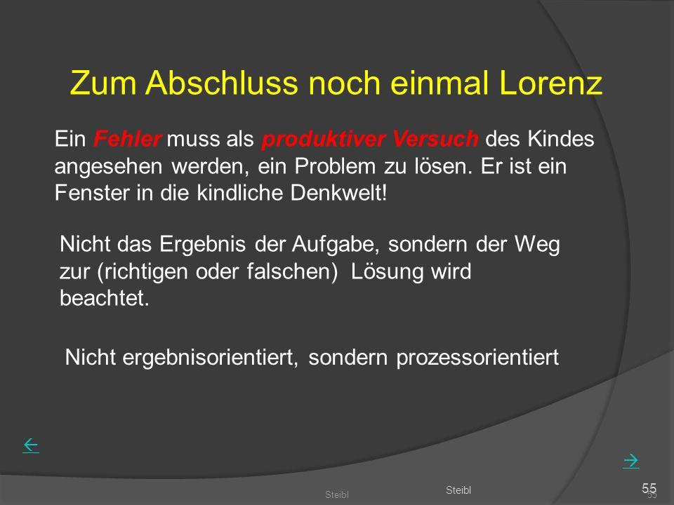 Steibl55 Steibl 55 Zum Abschluss noch einmal Lorenz Ein Fehler muss als produktiver Versuch des Kindes angesehen werden, ein Problem zu lösen.