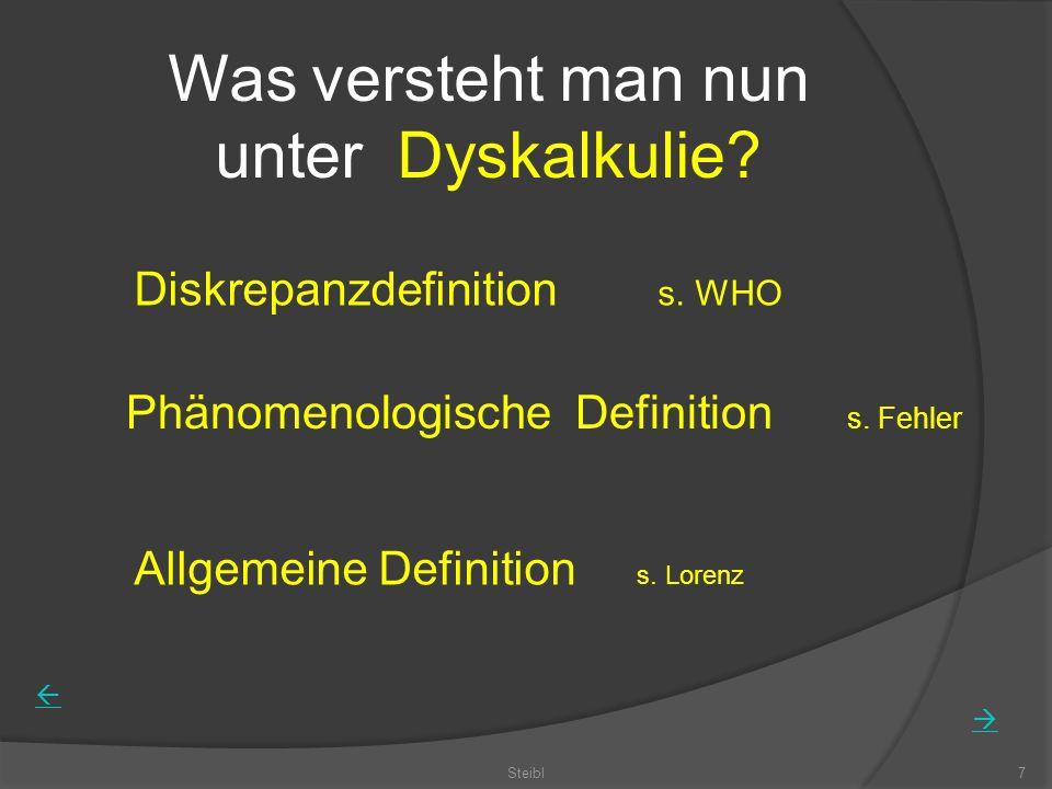 Was versteht man nun unter Dyskalkulie? Diskrepanzdefinition s. WHO Phänomenologische Definition s. Fehler Allgemeine Definition s. Lorenz Steibl7