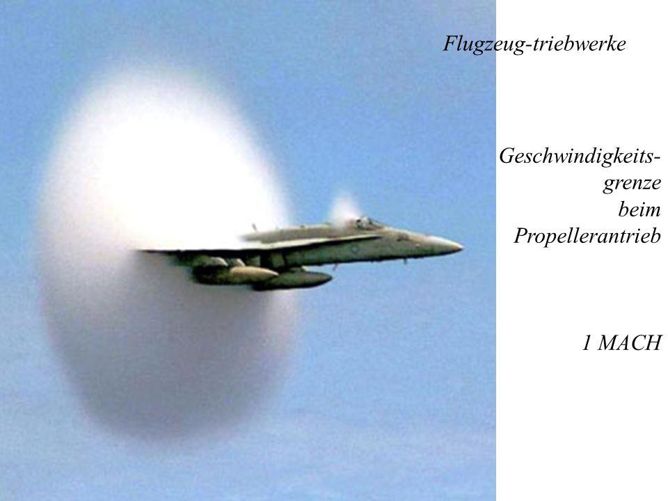 Flugzeug-triebwerke Geschwindigkeits- grenze beim Propellerantrieb 1 MACH