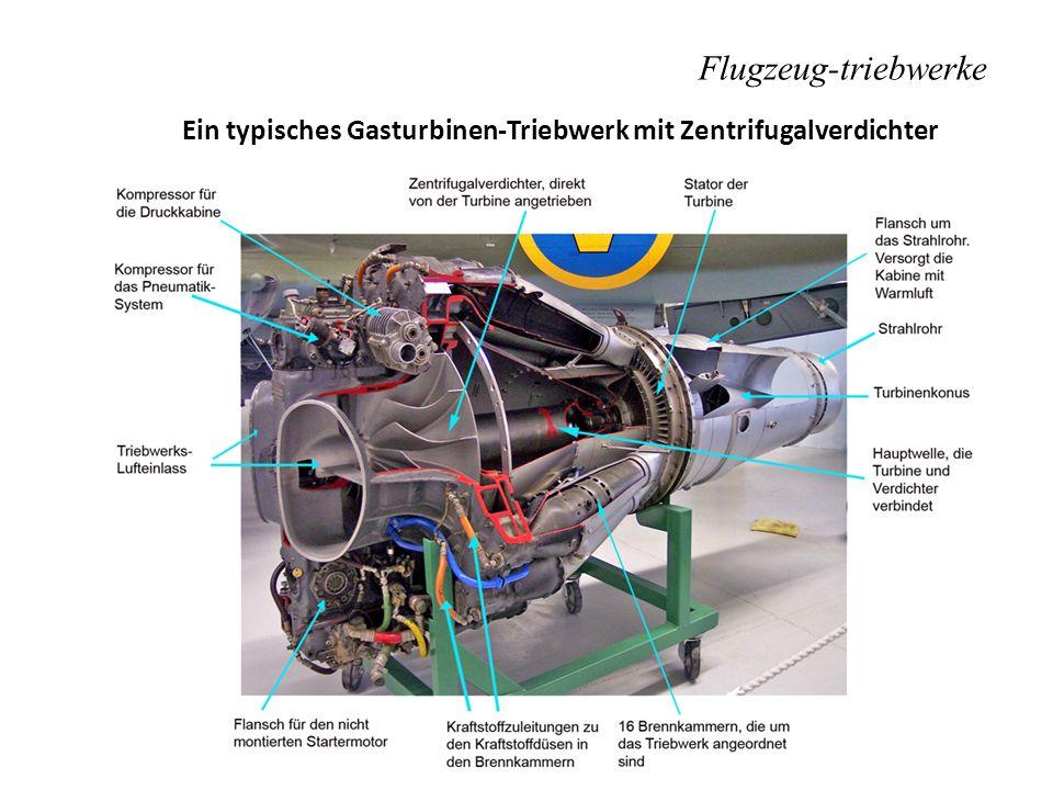 Ein typisches Gasturbinen-Triebwerk mit Zentrifugalverdichter Flugzeug-triebwerke