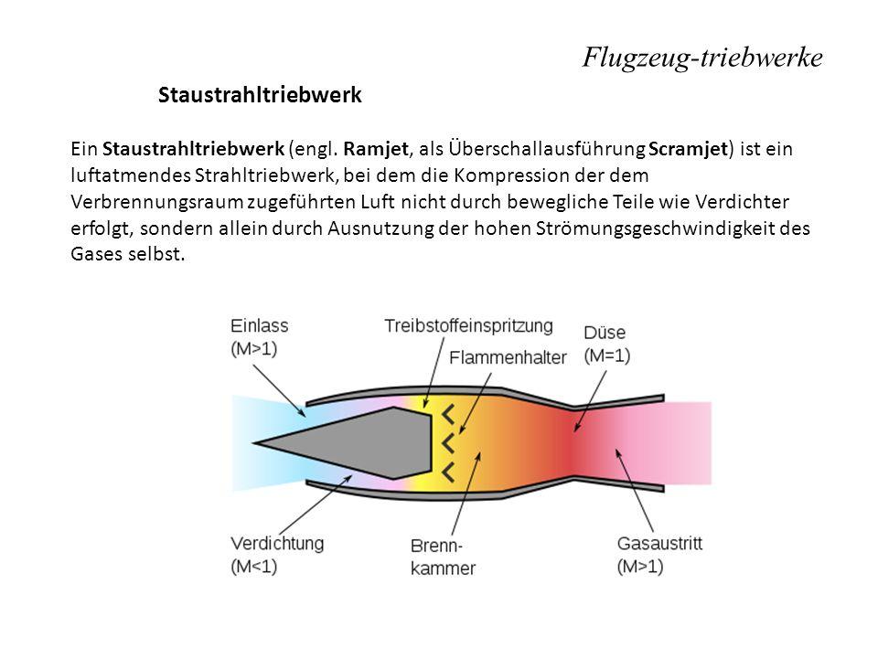Flugzeug-triebwerke Staustrahltriebwerk Ein Staustrahltriebwerk (engl. Ramjet, als Überschallausführung Scramjet) ist ein luftatmendes Strahltriebwerk