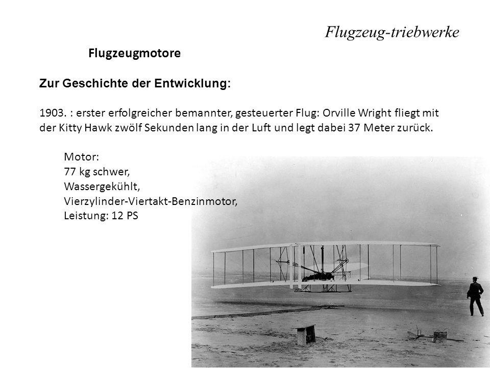 Flugzeugmotore Zur Geschichte der Entwicklung: 1903. : erster erfolgreicher bemannter, gesteuerter Flug: Orville Wright fliegt mit der Kitty Hawk zwöl