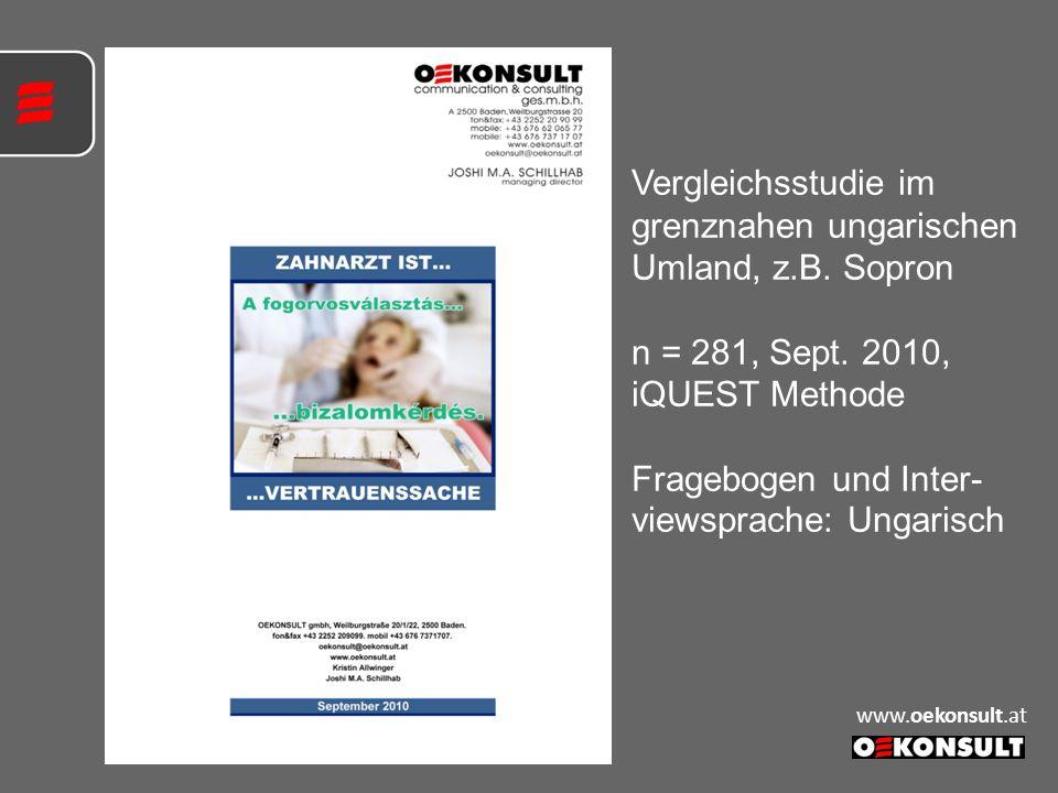 Vergleichsstudie im grenznahen ungarischen Umland, z.B. Sopron n = 281, Sept. 2010, iQUEST Methode Fragebogen und Inter- viewsprache: Ungarisch www.oe