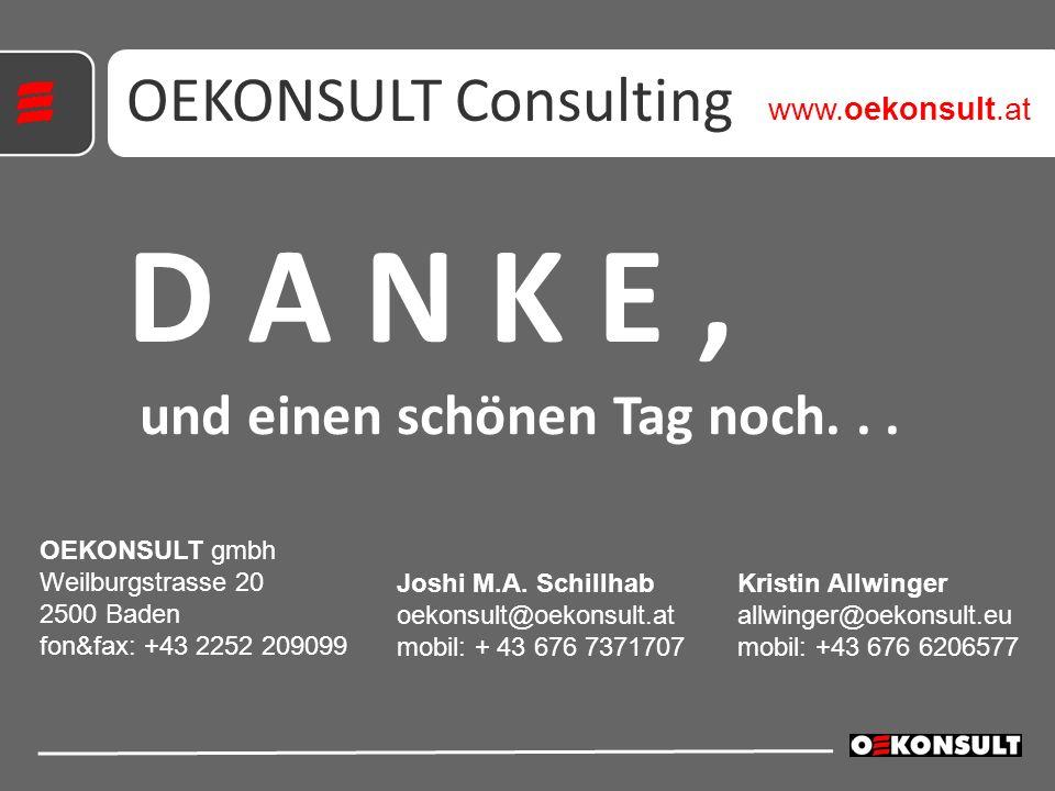 D A N K E, und einen schönen Tag noch... OEKONSULT Consulting OEKONSULT gmbh Weilburgstrasse 20 2500 Baden fon&fax: +43 2252 209099 Kristin Allwinger