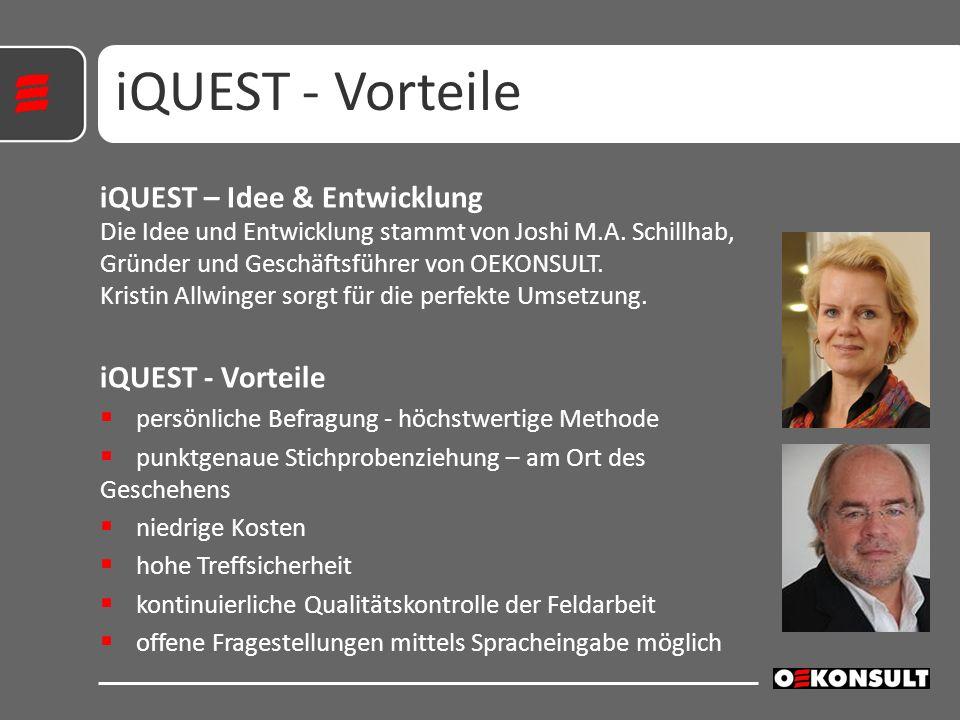 iQUEST – Idee & Entwicklung Die Idee und Entwicklung stammt von Joshi M.A. Schillhab, Gründer und Geschäftsführer von OEKONSULT. Kristin Allwinger sor